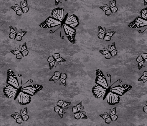 Monarch Butterflies on Gray Granite fabric by laurijon on Spoonflower - custom fabric