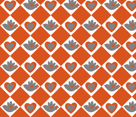 Bird and Heart (dark orange) fabric by malien00 on Spoonflower - custom fabric