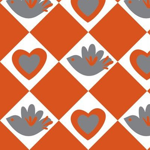 Bird and Heart (dark orange)