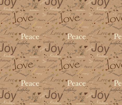 Fruits of The Spirit - Light Brown fabric by petals_fair_(peggy_brown) on Spoonflower - custom fabric