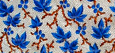 Antique blue leaves & twigs chintz