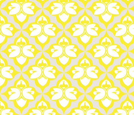 GARDEN DAMASK yellow fabric by heatherrothstyle on Spoonflower - custom fabric