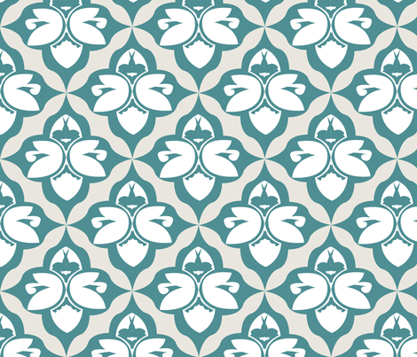 GARDEN DAMASK teal fabric by heatherrothstyle on Spoonflower - custom fabric