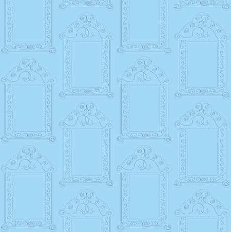 Frames - Blue fabric by owlandchickadee on Spoonflower - custom fabric
