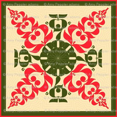 Umi Numbers Hawaiian Quilt in ula ula and 'oma'oma'o