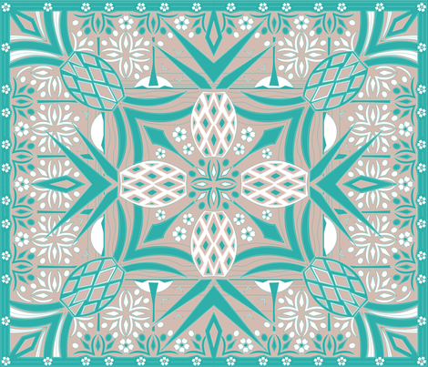 hawaiian pineapples - cheater quilt in turquoise, rose, and white fabric by bubbledog on Spoonflower - custom fabric