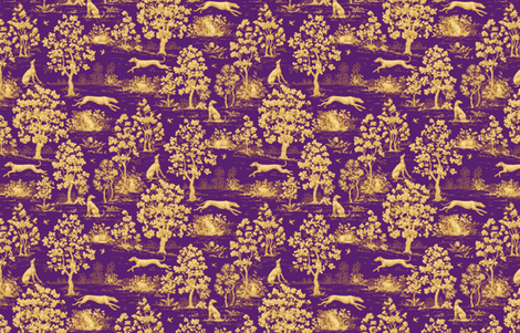 Purple Harvest greyhound Toile de Jouy fabric by artbyjanewalker on Spoonflower - custom fabric