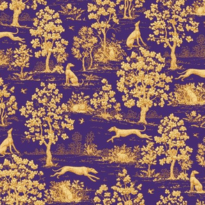 Purple Harvest greyhound Toile de Jouy ©2011 by Jane Walker