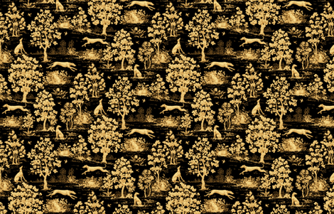Black Harvest greyhound Toile de Jouy ©2011 by Jane Walker fabric by artbyjanewalker on Spoonflower - custom fabric