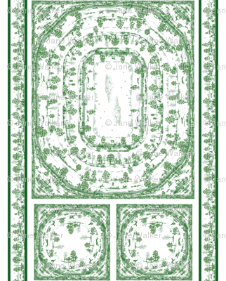 GREEN TOILE NAPKINS AND TABLECLOTH SET 2 yard print