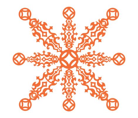 Hawaiian Cheater Quilt - Orange