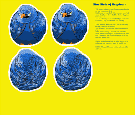 Blue Bird of Happiness Bean Bag Toy fabric by salzanos on Spoonflower - custom fabric