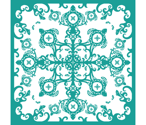 Hawaiian Sea Turtles Cheater Quilt, Teal - © Lucinda Wei fabric by simboko on Spoonflower - custom fabric
