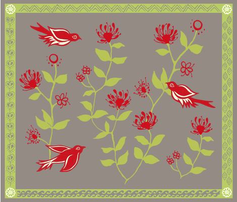 `Apapanes and `ÅŒhi'a Lehua Blossoms. fabric by forest&sea on Spoonflower - custom fabric