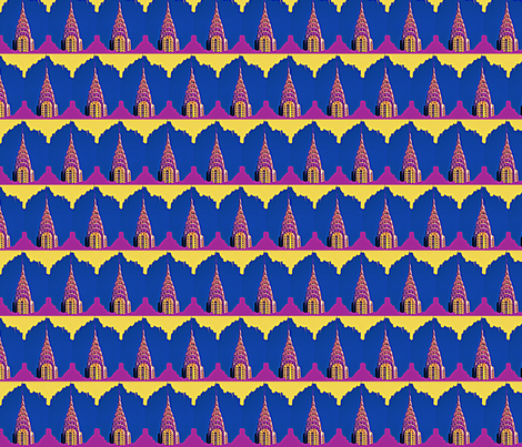 Glowing Chrysler Building  fabric by robin_rice on Spoonflower - custom fabric