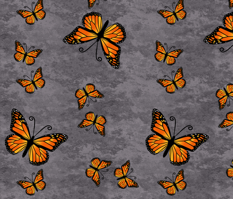 Monarch Butterflies in Color on Gray Granite fabric by laurijon on Spoonflower - custom fabric