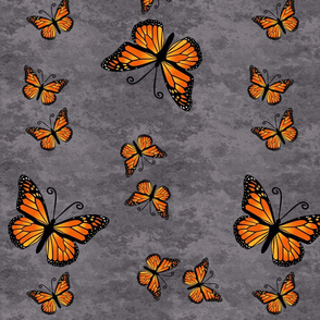 Monarch Butterflies in Color on Gray Granite
