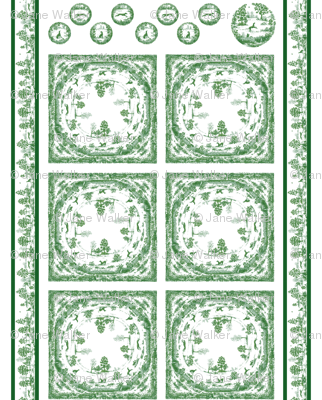 TOILE NAPKIN AND EXTRAS SET GREEN 2 yard print ©2012 by Jane Walker