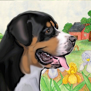 Greater Swiss Mountain Dog Fabric