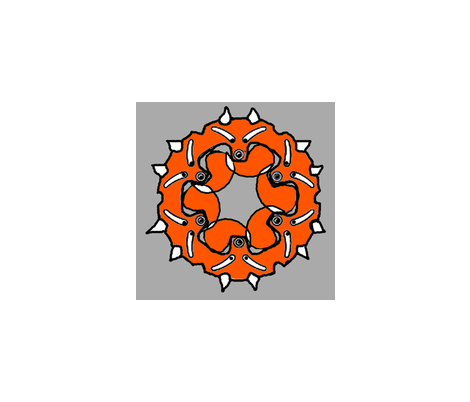 Fox_ring_gear_hawaiian_quilt_style fabric by vinkeli on Spoonflower - custom fabric