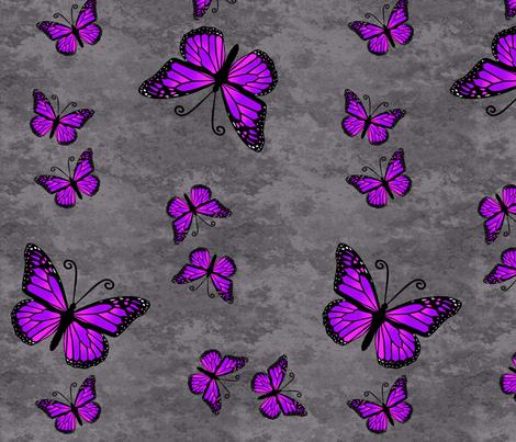 Monarch Butterflies Purple on Gray Granite fabric by laurijon on Spoonflower - custom fabric