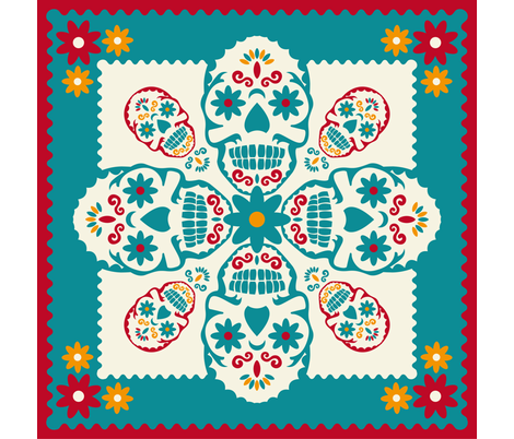 Skulls fabric by cassiopee on Spoonflower - custom fabric