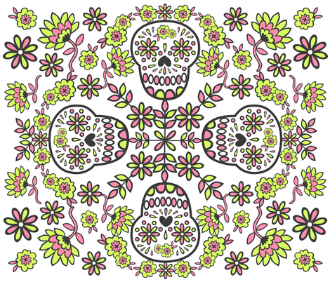 A Flowery Sugar Skull fabric by my_zoetrope on Spoonflower - custom fabric