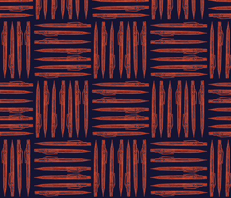 Retro Machanical Pencil - Orange fabric by dorolimited on Spoonflower - custom fabric