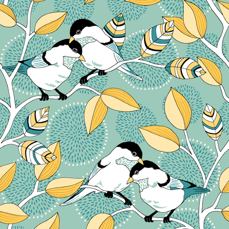 Love Birds - Custom Color Palette fabric by pattysloniger on Spoonflower - custom fabric