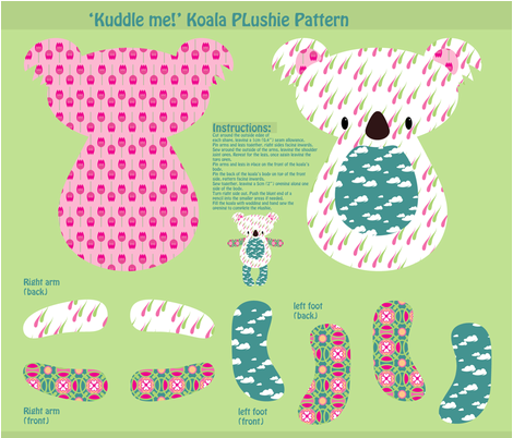 """Kuddle me!"" Koala Plushie Pattern fabric by delsie on Spoonflower - custom fabric"