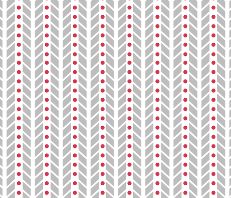 Chevron (Large Scale) in Grey and Red fabric by me-udesign on Spoonflower - custom fabric
