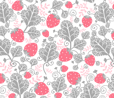 Pink And Gray Strawberries fabric by oksancia on Spoonflower - custom fabric