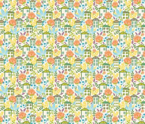 Houses Among Flowers fabric by oksancia on Spoonflower - custom fabric