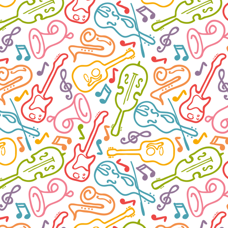 Musical Instruments fabric by oksancia on Spoonflower - custom fabric