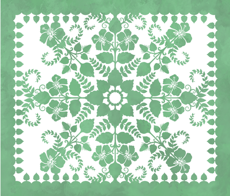 Akahai Quilt (green colorway) fabric by jennartdesigns on Spoonflower - custom fabric