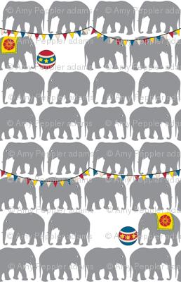 Circus Elephants (Gray) || animals whimsical balls flags baby nursery children bunting