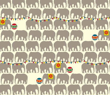 Circus Elephants - Gray fabric by pennycandy on Spoonflower - custom fabric