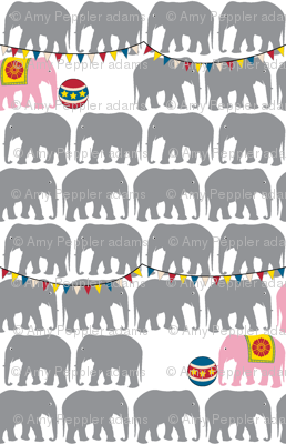 Circus Elephants - Gray & Pink