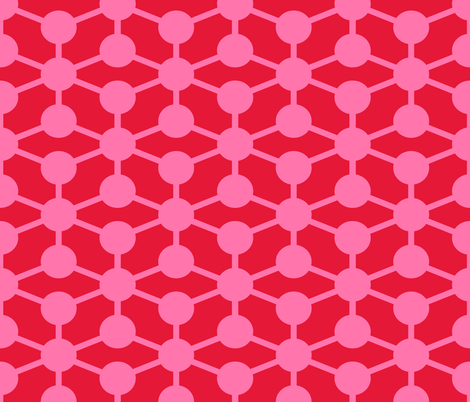 simple molecule in pink and red fabric by jenr8 on Spoonflower - custom fabric