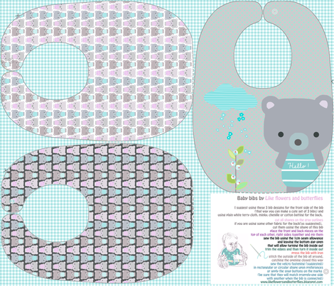Teddy Bear baby bibs sewing pattern template fabric by katarina on Spoonflower - custom fabric