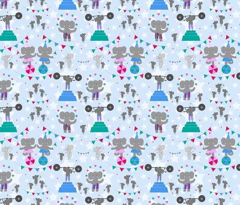 Trumpet and Squeak Circus (blue) fabric by mondaland on Spoonflower - custom fabric