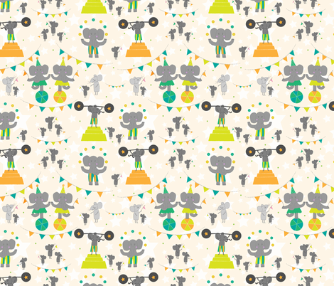 Trumpet and Squeak Circus (orange/green) fabric by mondaland on Spoonflower - custom fabric