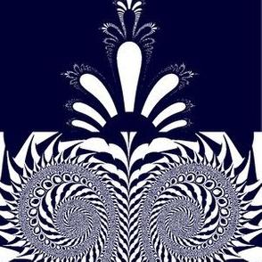 navey blue and white swirls