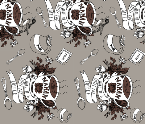 wake up & smell the coffee (colorway 2) fabric by youngcaptive on Spoonflower - custom fabric