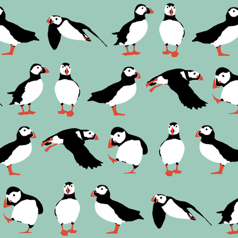 just puffins aqua fabric by scrummy on Spoonflower - custom fabric