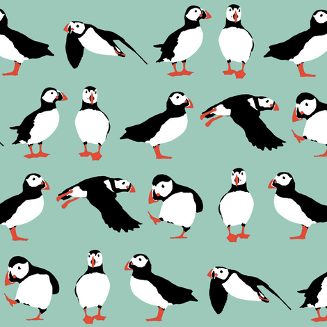 just puffins fabric by scrummy on Spoonflower - custom fabric