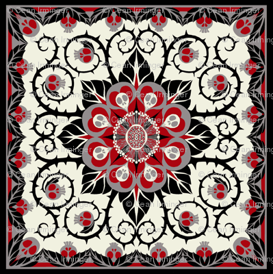 Deadly Nightshade Hawaiian Quilt - Suzani