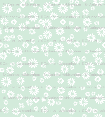 White Daisies on Light Blue