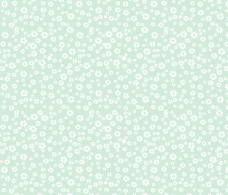 White Daisies on Light Blue fabric by carinaenvoldsenharris on Spoonflower - custom fabric