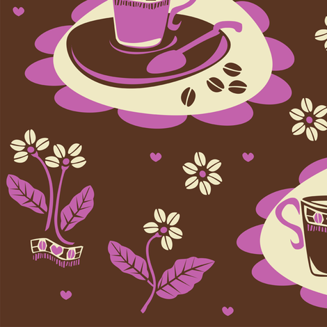 coffee_beans_flowers_pink fabric by niceandfancy on Spoonflower - custom fabric